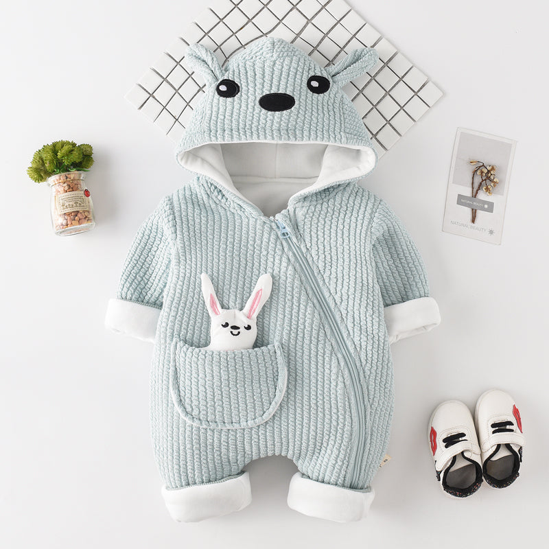 Rabbit Ear Side Zipper Winter Jumpsuit