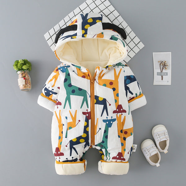Giraffe Printed Winter Jumpsuit
