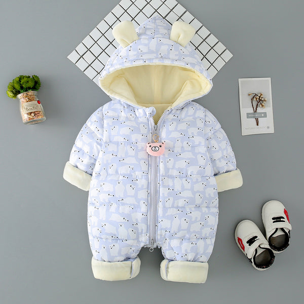 Polar Bear Printed Winter Jumpsuit