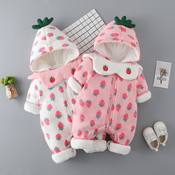 Strawberry Printed Bib Winter Jumpsuit