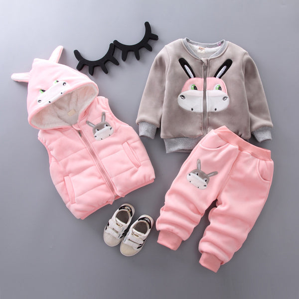 Moo Cow Made Winter Set With Sleeveless Jacket