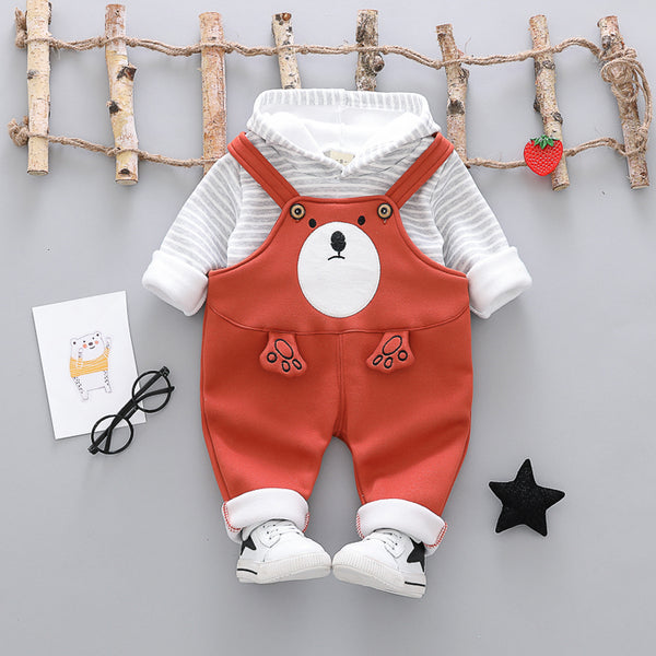 Bear Winter Overall Set With Hooded Tshirt