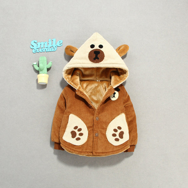 Bear Hooded Corduroy Hooded Jacket