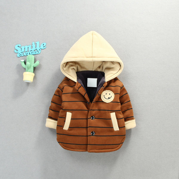 Smiley Made Striped Hooded Jacket