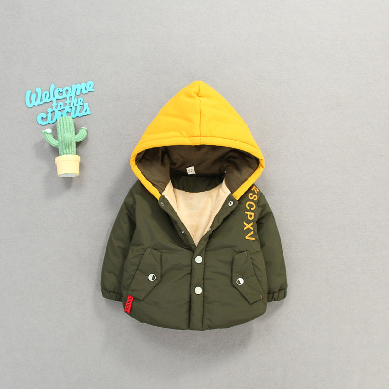 Military Green Hooded Buttoned Winter Jacket