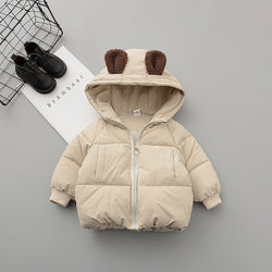 Hooded Winter Jacket With Polar Bear Made On Back