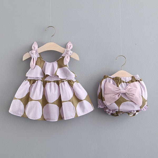 Knot Strap Dress And Bow Bloomers