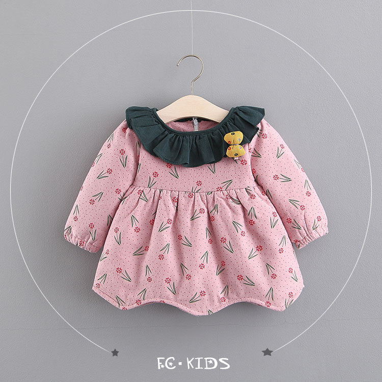 Flower Printed Long Sleeves Winter Dress For Baby Girls