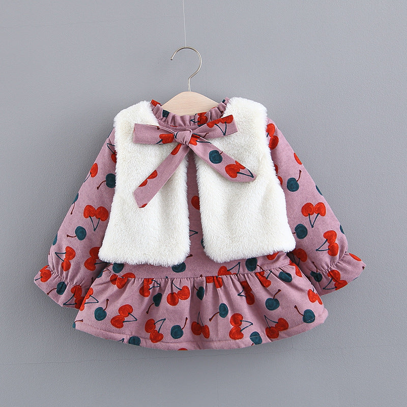 Berry Printed Winter Dress With Fleece Jacket