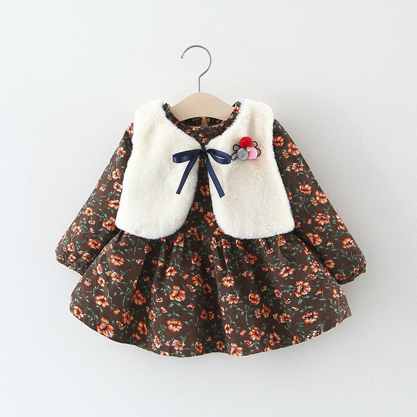 Flower Printed Winter Dress With Fleece Jacket