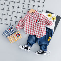 Checks Stylish Shirt And Denim Baby Set