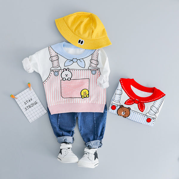 Bear Printed Sweatshirt Baby Set