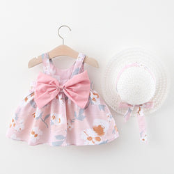 Bow Made Floral Print Dress With Hat