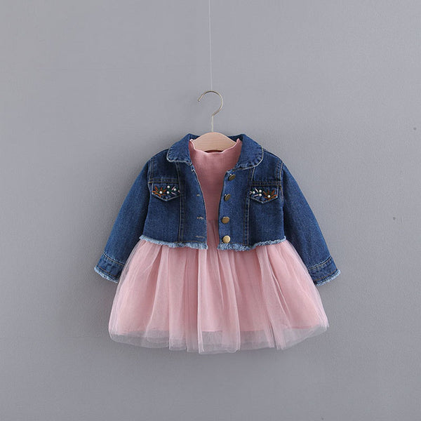 Long Sleeves Baby Dress With Denim Jacket