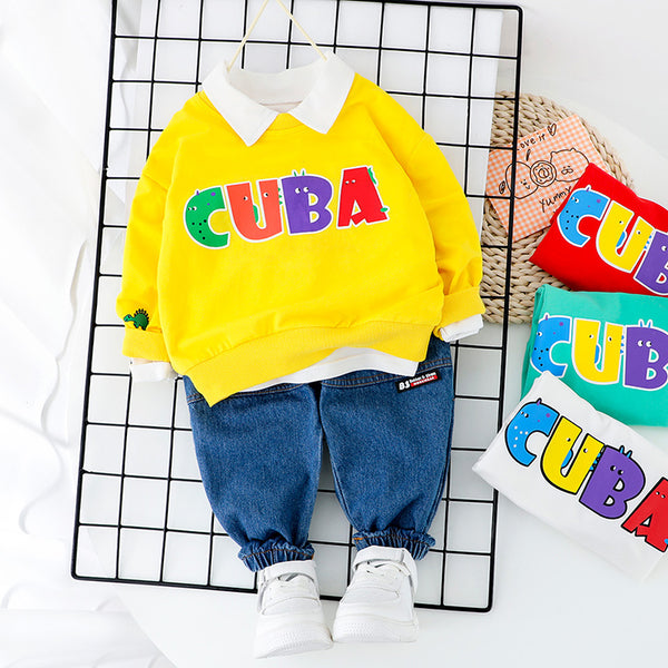 Cuba Printed Sweatshirt And Denim Set