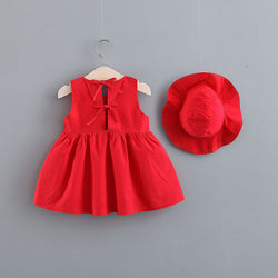 Solid Color Sleeveless Dress With Hat