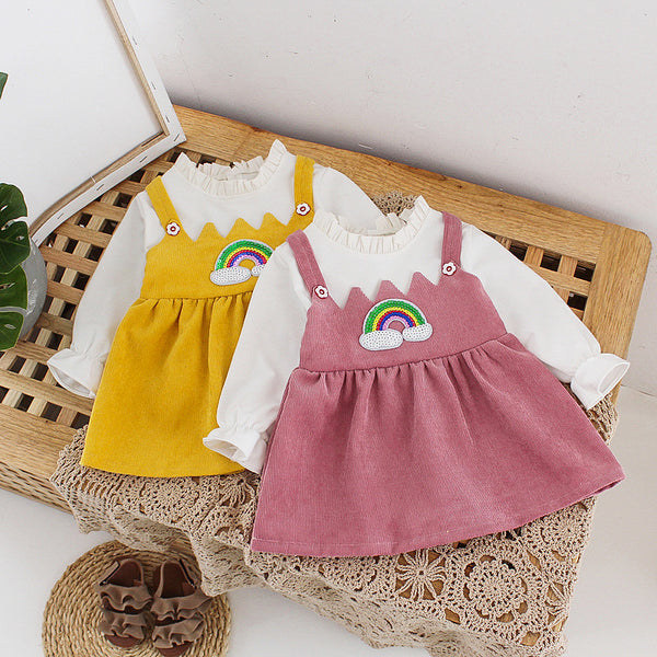 Rainbow Corduroy Overall Dress