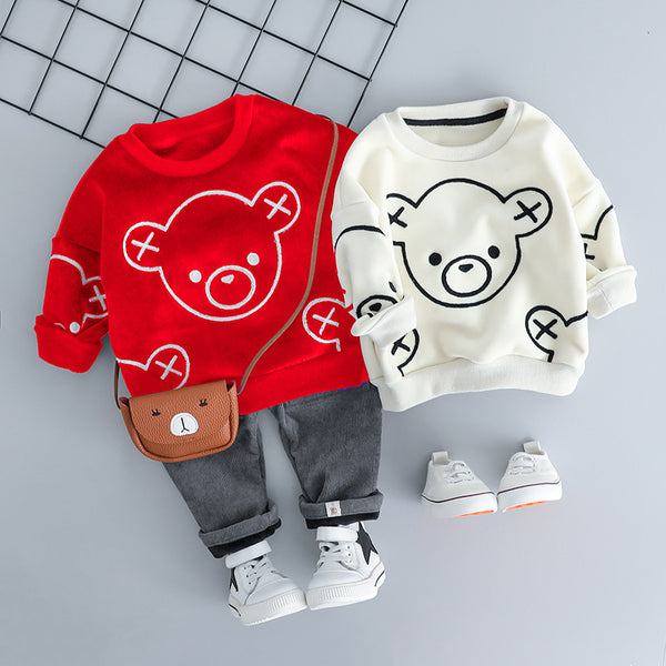 Baby Bear Sweatshirt And Corduroy Pant Winter Set