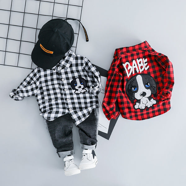 Check Shirt With Denim Baby Set