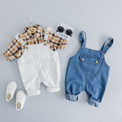 Dungaree Set With Plaided Shirt