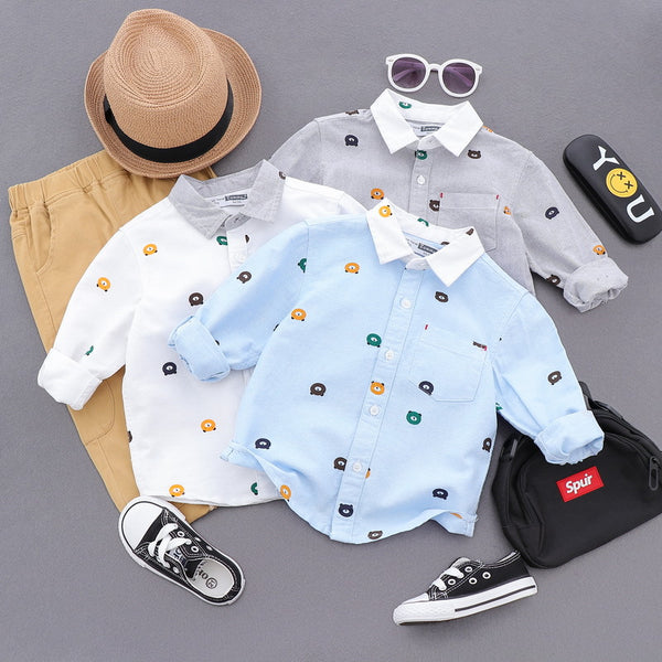 Bear Printed Contrast Collar Shirt