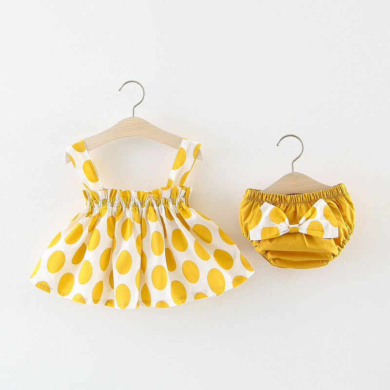 Polka Dot And Bow Bloomer Set
