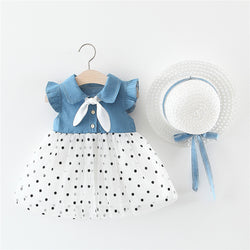 Polka Dotted Half Denim Dress With Cap