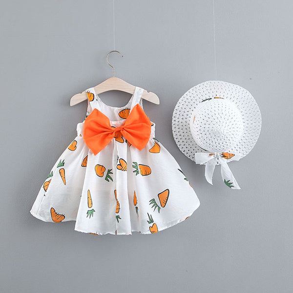 Carrot Printed Summer Dress With Hat