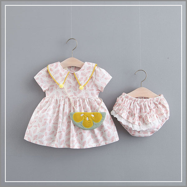 Leaves Printed Bloomer Set With Sling