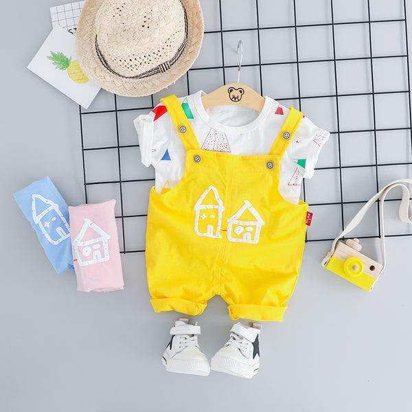 Home Printed Dungaree Set