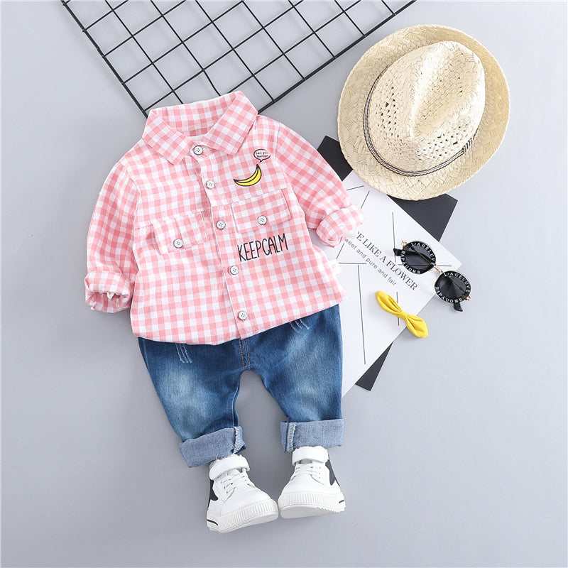 Checks Shirt With Denim Baby Set