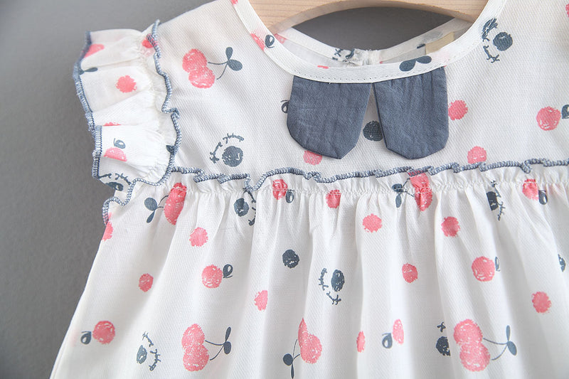 Cherry Printed Top And Bow Shorts Set