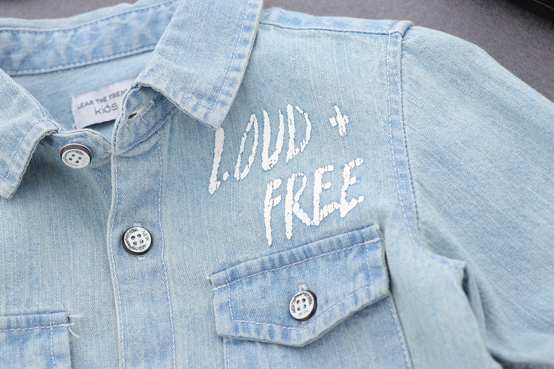 Denim Shirt With Slogan Patch On Back