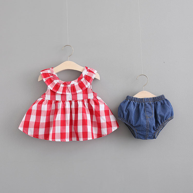 Plaided Top And Denim Bloomer Set