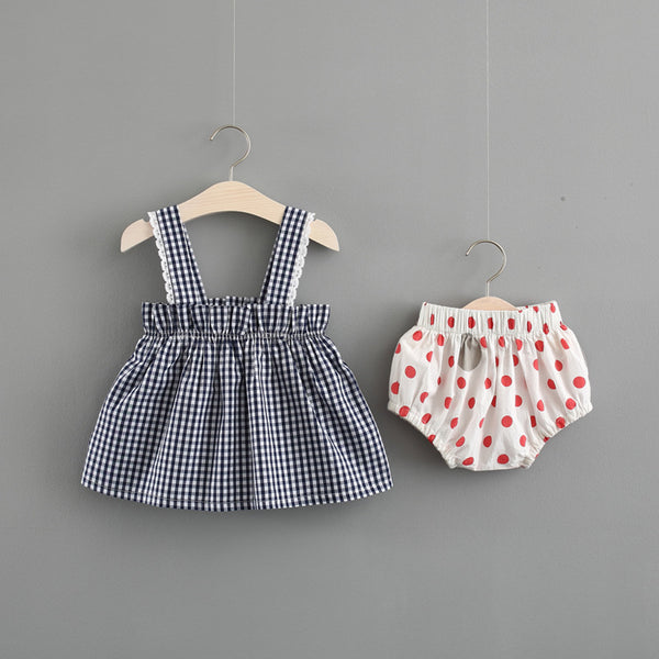 Plaided Top And Polka Dot Bloomer Set