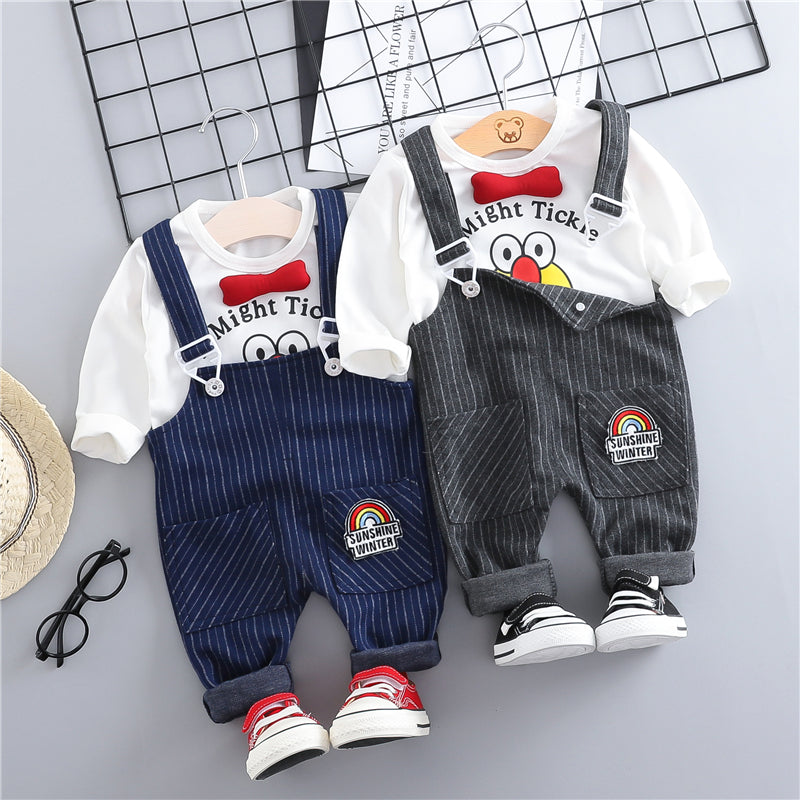 Striped Dungaree With Tshirt Set