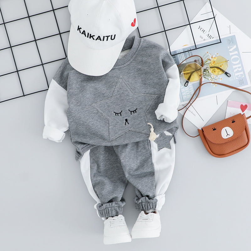 Star Made Sweatshirt And Side Striped Joggers Set