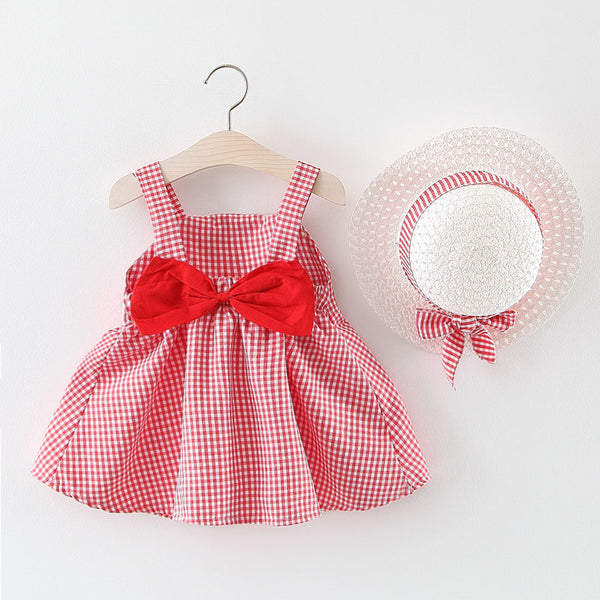 Plaided Bow Summer Dress With Hat