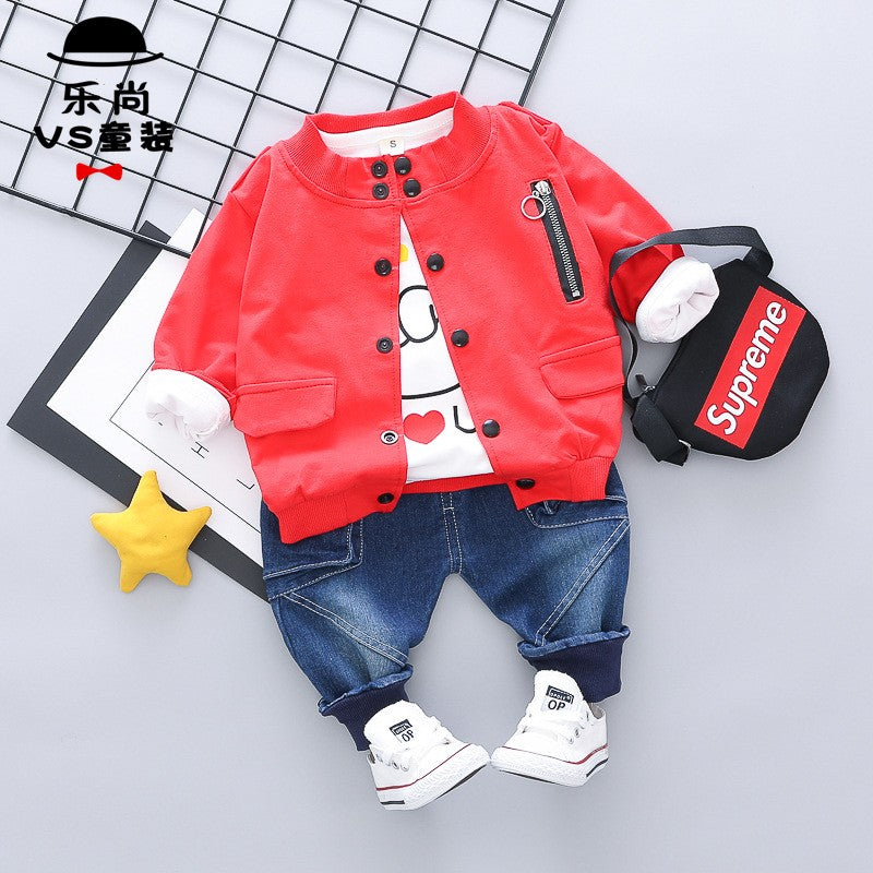Love You Gesture Printed Jacket, Tshirt And Denim Set