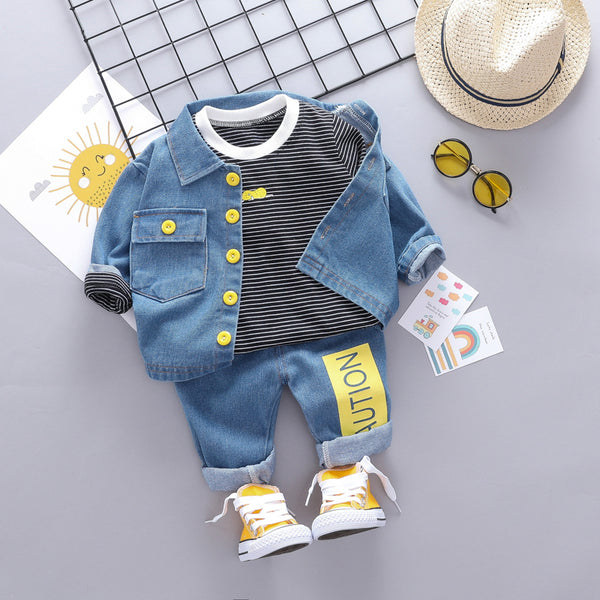 Denim Set With Striped Tshirt