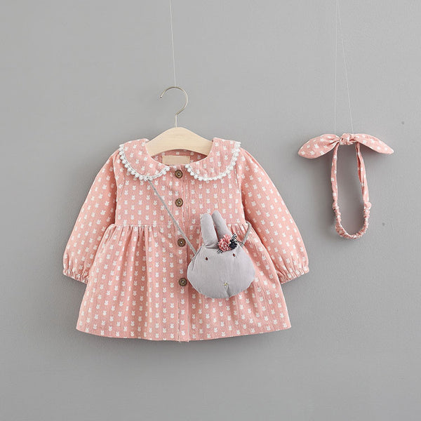 Bunny Printed Buttoned Dress With Sling And Headband