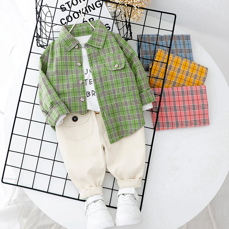 Checkered Pocket Shirt And Chino Set