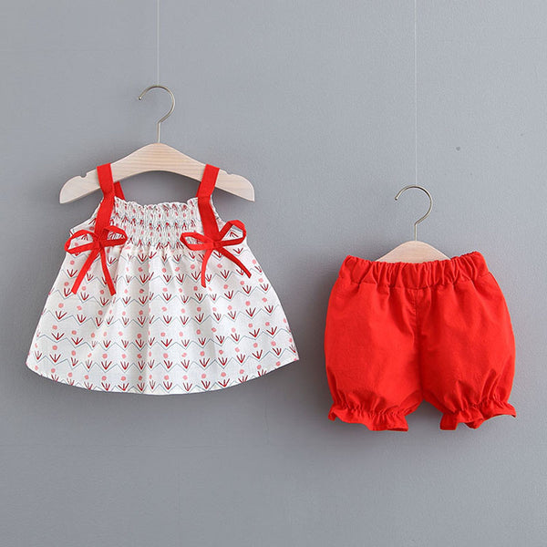 Leaf Printed Bow Knot Summer Set