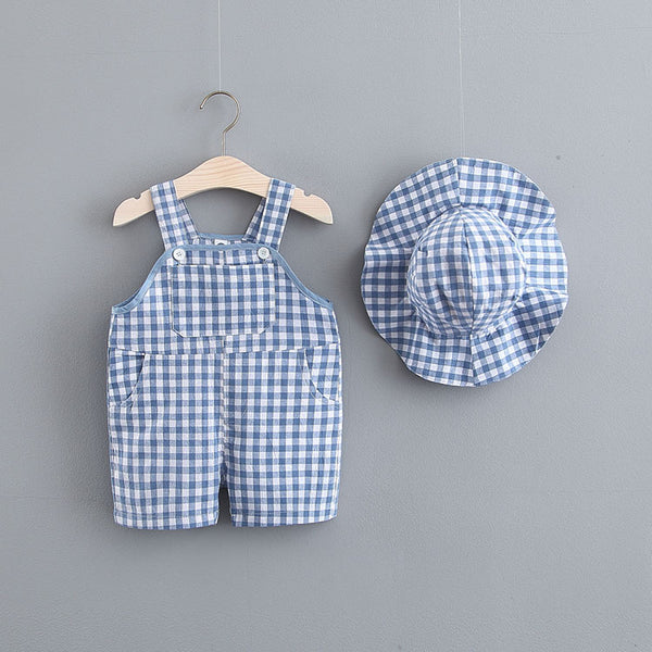 Plaided Dungaree And Hat Set