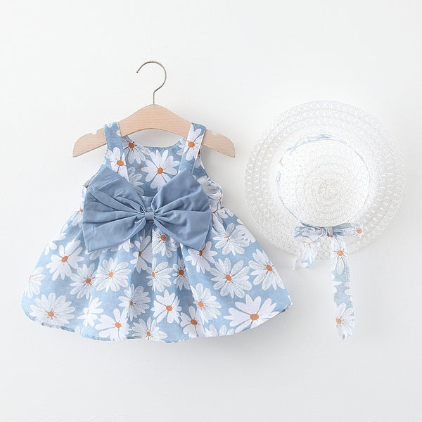 Bow Made Flower Printed Summer Dress With Hat
