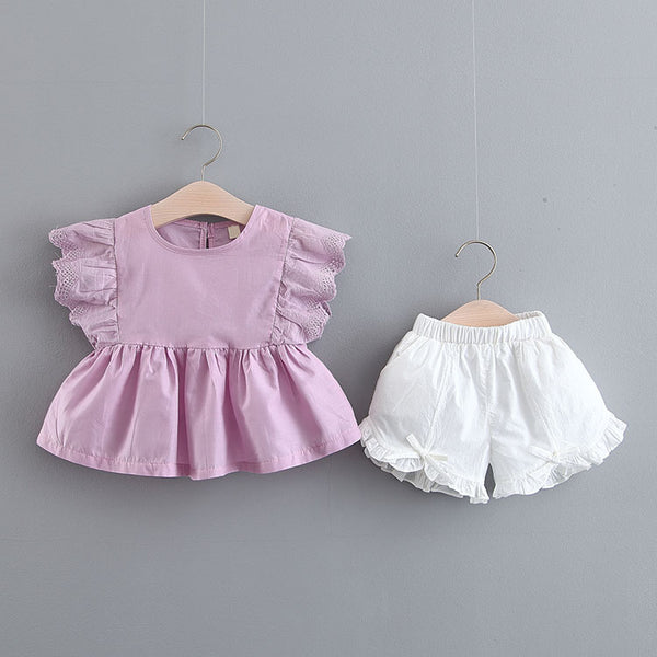 Ruffles Sleeves Pleated Set