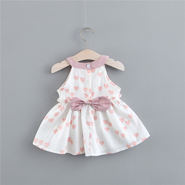 Heart Printed Bow Summer Dress