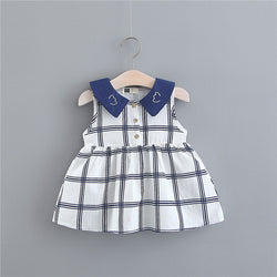 Plaided Animal Collar Summer Dress