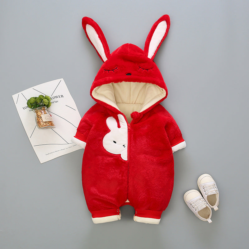 Rabbit Made Hooded Soft Winter Jumpsuit