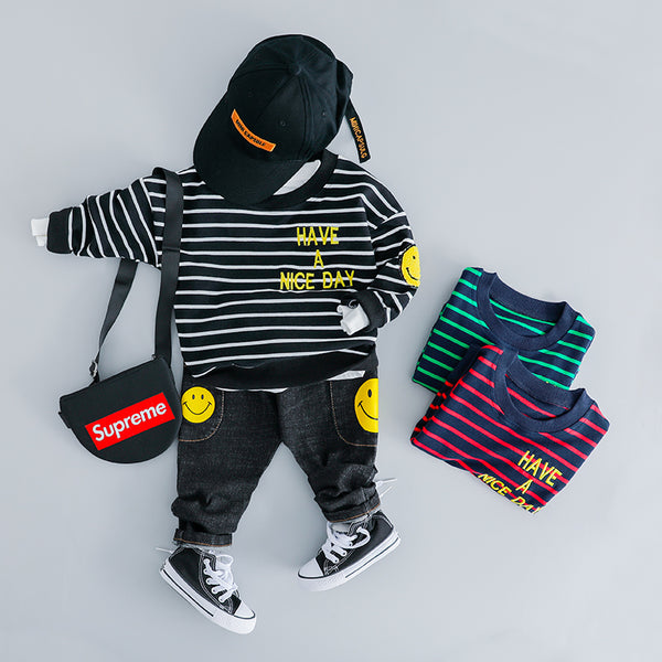 Striped Sweatshirt Baby Set